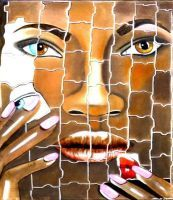 """ Puzzle "" Acryl + Softpastell 40 x 50 cm"
