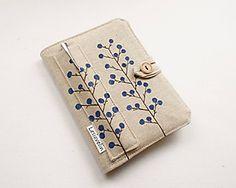 Obal na knihu - Kvitnúca tráva (natur 100% ľan) / Lesiavelin - SAShE.sk - Handmade Papiernictvo Lany, Money Clip, Wallet, Money Clips, Purses, Diy Wallet, Purse