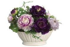 """$39, 17"""" Ranunculus and Fern in Bowl, Faux"""