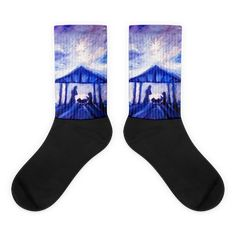 These socks are extra comfortable thanks to their cushioned bottom. The foot is black with artwork printed along the leg with crisp, bold colors that won't fade. Cool Socks, Awesome Socks, Artwork Prints, Painting Prints, Us Man, Bold Colors, Scene, Legs, Black
