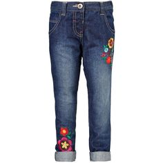 Mini V By Very Girls Skinny Floral Embroidered Jeans ($20) ❤ liked on Polyvore featuring jeans, destroyed skinny jeans, straight leg jeans, blue skinny jeans, distressed jeans and ripped jeans