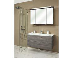 SUNLINE Badmeubelset Kumba GWT 107 grafiet inclusief spiegelkast, 2 lades en enkele wastafel met 1 kraangat