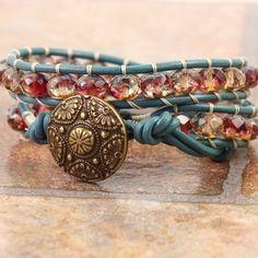 Bracelet bleu sarcelle Bohème bijoux Bracelet en cuir Wrap Bracelet Bracelet perlé Wrap rose jaune bleu cuir bijoux Boho Hippie fête des mères