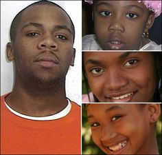KBA - On 28 March 2009, 23-year old Kerby Revelus, left, beheaded his 5-year old sister Bianca, top right, and stabbed Samantha, 17, centre right, to death. Another sister, Saraphina, 9, bottom right, managed to call the police during the rampage. She suffered several stab wounds during the attack. Police shot and killed Kerby before he could kill Saraphina. Their parents were at work and their grandmother was downstairs doing laundry.