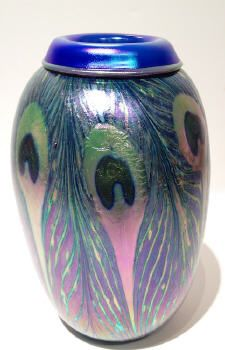 Artist: Charles  Lotton, Title: Opal & Blue Peacock Vase - click for larger image