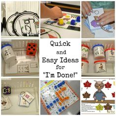 "What do you do when your students say ""I'm done!"" Check out these easily to implement kindergarten early finisher activities. I'm Done Activities, Anchor Activities, Classroom Activities, Classroom Ideas, Physics Classroom, Classroom Displays, Outdoor Activities, Kindergarten Classroom Management, Kindergarten Math Games"