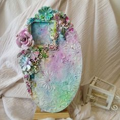 mixed media oval plaque lindys magical- Roshini's Crafts