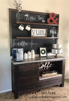 Coffee Bar and Inspiration for Card :: Confessions of a Stamping Addict – The Best Home Coffee Stations Ideas, Tips and Designs Coffee Bar Design, Coffee Shop Interior Design, Italian Interior Design, Cafe Design, Design Design, Coffee Bars In Kitchen, Coffee Bar Home, Coffee Coffee, Krups Coffee