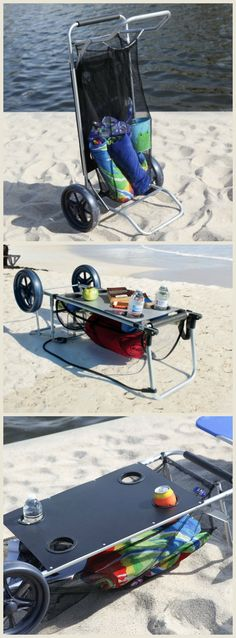 The Wonder Cart - Beach Cart - perfect for transporting your beach supplies and then easily folding into a beach table. #affiliate