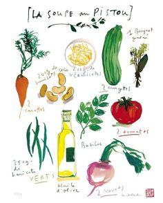 French kitchen decor, Basil recipe, Vegetable art, food illustration, Watercolor veggies, 8x10 print, green. $25.00, via Etsy.