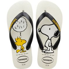Havaianas White & Black Snoopy Flip-Flop ($12) ❤ liked on Polyvore featuring shoes, sandals, flip flops, monk-strap shoes, padded sandals, strappy sandals, havaianas shoes and black and white shoes