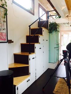 Comfortable stairs with handrail and lots of storage