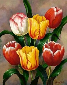 Oil painting Flowers art i costello oil paintings prices lippan art on canvas long canvas painting female artist flowers Tulip Painting, Oil Painting Flowers, Watercolor Flowers, Painting & Drawing, Watercolor Art, Art Floral, Belle Image Nature, Tulips Flowers, Flower Wallpaper