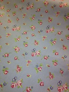 Clarke and Clarke Curtain Fabric Pale Blue with Floral Rosebud in Pink & Blue! £10.99 per metre! #fabric #flower #floral #cotton #clarkeandclarke #gorgeous #remnant