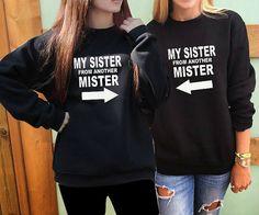2 Matching Best Friend sweatshirts Best Friends Gift My Sister From Another Mister women best friends sweater matching bff crewneck felpa