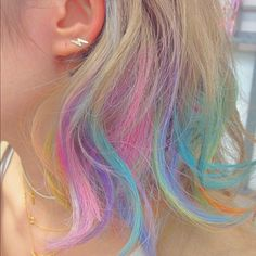 Idée Couleur & Coiffure Femme 2018 : Description Short dip dyed hair or hair chalk… Not sure, but i really ♡ this rainbow hair Cool Short Hairstyles, Pretty Hairstyles, Short Hair Styles, Dip Dye Hair, Dye My Hair, Kids Dyed Hair, Blonde Dip Dye, Blonde Hair, Dyed Ends Of Hair