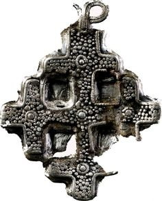Cross pendant found in Dziekanowice, Poland.Culture: Slavic [West Slavs]Timeline: c. 10th-11th century[source]