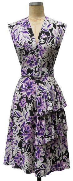 Sadie Ruffle Dress | Purple Floral | 1940s Inspired Dress | Trashy Diva