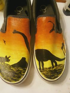 Dinosaurs shoes at Sunset