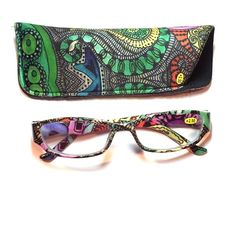 2.50 reading glasses retro pattern with case 2.50 reading glasses retro pattern with case Accessories Glasses