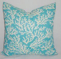 OUTDOOR Blue Coral Print Pillow Cover 18x18 Porch Deck Decorative Pillows. $18.00, via Etsy.