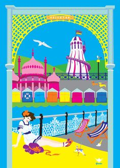 Brighton & Hove, East Sussex, England colorful beach travel poster