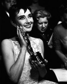 Audrey Hepburn with her Oscar for best actress in a leading role in Roman Holiday at the Academy Awards in 1954. Who will win tonight? (Ralph Morse—The LIFE Picture Collection/Getty Images) #AudreyHepburn #AcademyAwards #Oscars