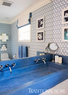 Bathroom Tile Ideas Blue And White a 6'x7' bathroom visually expands thanks to horizontal stripes of