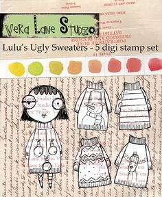 Lulu's Ugly (Christmas) Sweaters - whimsical girl with a collection of Christmas sweaters - 5 digi stamp set available for instant download