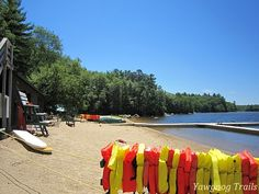 Summer at the Camp Three Point Waterfront at Camp Yawgoog, Rockville, Hopkinton, Rhode Island (RI).  A 2014 image by David R. Brierley.