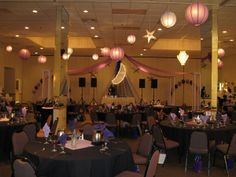 Purple Prom- Another view of the dance floor with about 40 lanterns hung all over the room.  Maneeley's in South Windsor