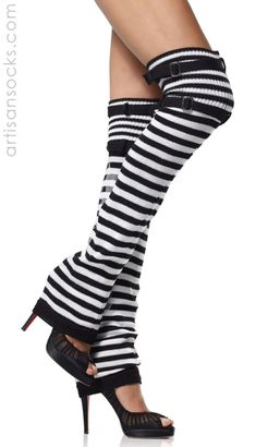 Black and White Striped Thigh High Leg Warmers with Buckle Top from Artisan Socks www.artisansocks.com
