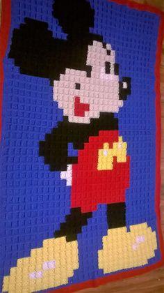 Mickey Mouse Crochet Granny Square Blanket by CuddlyCrochetChelsey