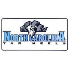 North Carolina Tar Heels White Metal Mascot License Plate