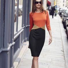 Rochie cu maneci 3/4 cu joc de cusaturi si culori. Masuri mari, pana la numarul 54. #rochieeleganta #masurimari #rochiixxl Berlin Fashion, Vestidos Plus Size, Feminine Style, Wardrobes, Ideias Fashion, High Waisted Skirt, Couture, Clothes For Women, My Style