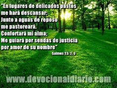"REFLEXIONES PARA VOS: ""JUNTO A AGUAS DE REPOSO"" Devocional diario. http://reflexionesparavos.blogspot.com/2013/07/me-hara-descansar.html?spref=tw #reflexionesparavos"