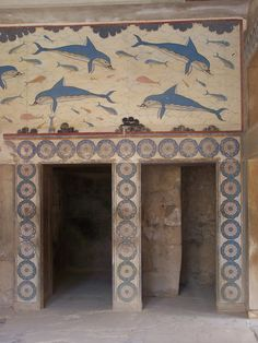 This is an image of a dolphin fresco found within the ancient palace of Knossos on Crete. The dolphins are representative of the Minoan civilization in that they were located on an island and were primarily a naval civilization, so an encounter with dolphins and large fish would have been inevitable.
