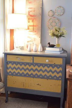 Mustard seed paint colour with gray! Chevron lines... by The Painted Turtle.