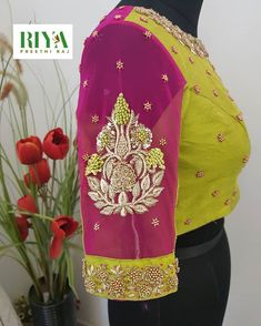 Hues of pink in sheer and silk for an organza silk saree. Cluster pearl and bead work done intricately to give a… Netted Blouse Designs, Wedding Saree Blouse Designs, Pattu Saree Blouse Designs, Fancy Blouse Designs, Blouse Neck Designs, Lehenga Blouse, Blouse Patterns, Applique Dress, Work Blouse