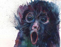 'Monday Monkey' Watercolour 15 x 21 cm