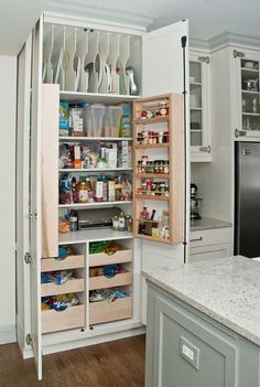 Organization...Make the bottom shelf/drawer a pull out step stool to get to the things on top more quickly!