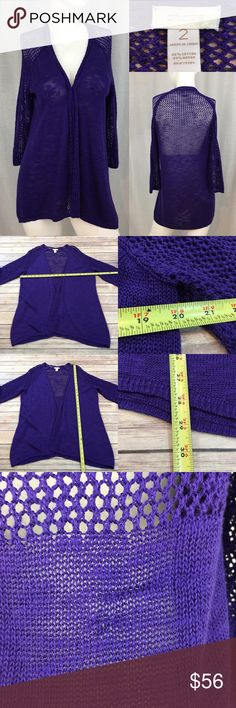 🌹Sz Large (12) Chico's 2 Crochet Purple Cardigan Measurements are in photos. Normal wash wear, has a snag on the back, no other flaws. C2/52  I do not comment to my buyers after purchases, due to their privacy. If you would like any reassurance after your purchase that I did receive your order, please feel free to comment on the listing and I will promptly respond.   I ship everyday and I always package safely. Thank you for shopping my closet! Chico's Sweaters Cardigans