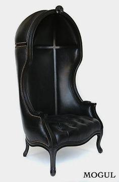 Mogul black unique leather canopy chair