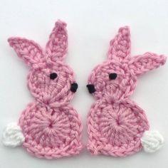 2 Large pink crochet applique Easter bunnies £3.00