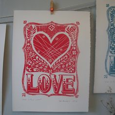 Valentines Love is the word lino print.