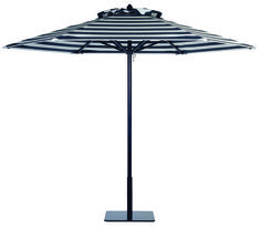 Paseo aluminum umbrella with Black frame in Cabana Black Stripe.