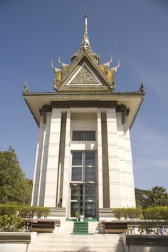 A memorial and a part of the killing fields in Phnom Penh Cambodia. You can't tell by the picture but this building is full of skulls from top to bottom.
