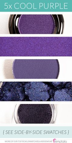 5 Beautiful Cool-Toned Purple Eyeshadows - 1. Urban Decay Flash - a brightened, medium purple  2. Inglot #439 - a rich, violet purple  3. Makeup Geek Duchess - a muted purple  4. Fyrinnae Because Cats - a frosted, bluish-purple  5. L'Oreal Purple Priority - a deep, frosted purple