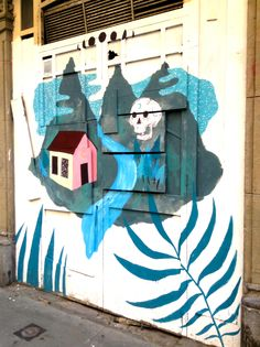 Blue landscape  #Blue #Landscape #Skull #House #Rivers #Turquoise #Mountain #Forest #ExpressYourself #StreetArt #Street #Art #Barcelona #B4S #Bcn #Catalonia #Inspiration #FOS #FreedomOfSpeech #Artist