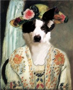 """""""Pup in Hat"""" by Henri Petisse. Anthropomorphic digital collage."""